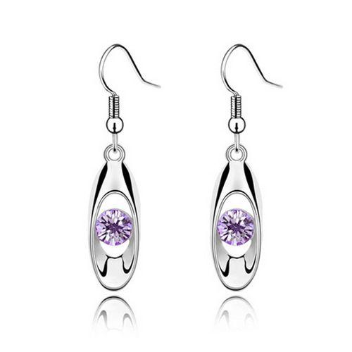 Pair of Ellipse Faux Crystal Openwork Earrings