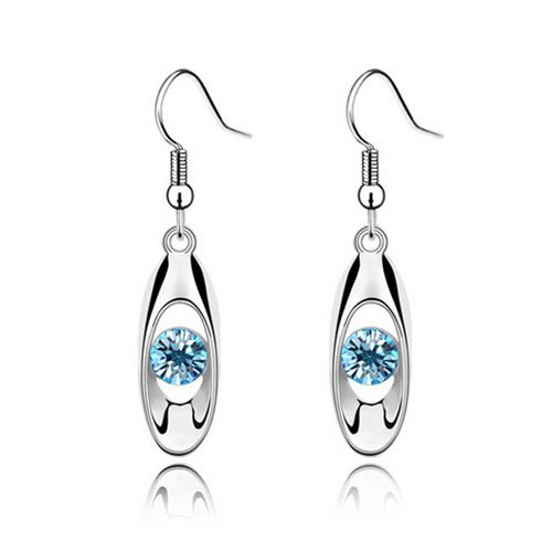 Pair of Ellipse Faux Crystal Openwork Earrings