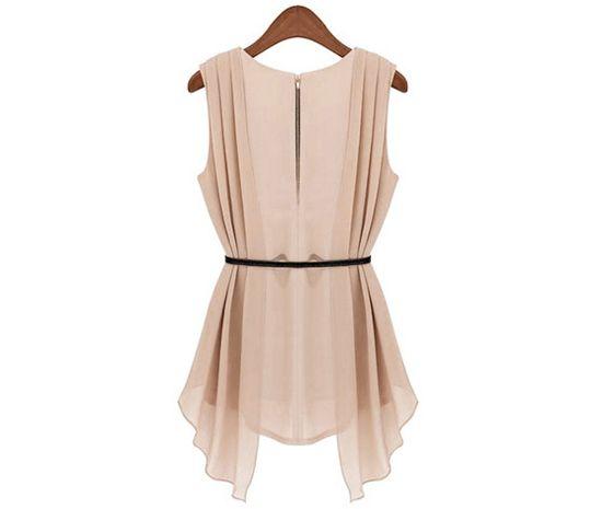 Stylish Scoop Collar Solid Color Belted Irregular Design Sleeveless Women's Chiffon Blouse