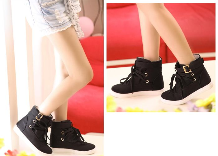 Buckle and Lace-Up Design Boots