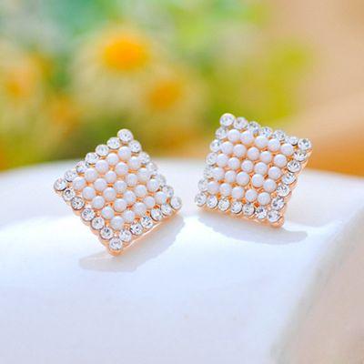 Pair of Alloy Beaded Square Stud Earrings