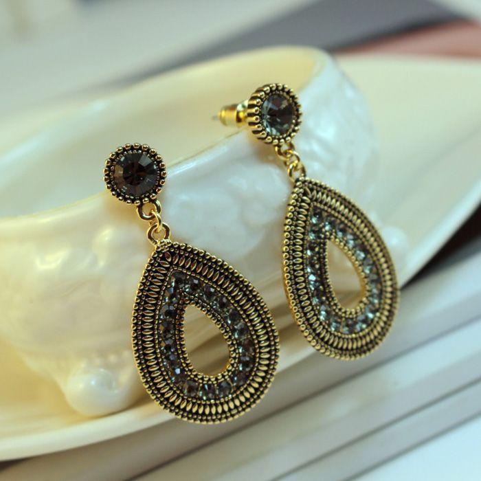 Pair of Ethnic Diamante Waterdrop Shape Drop Earrings