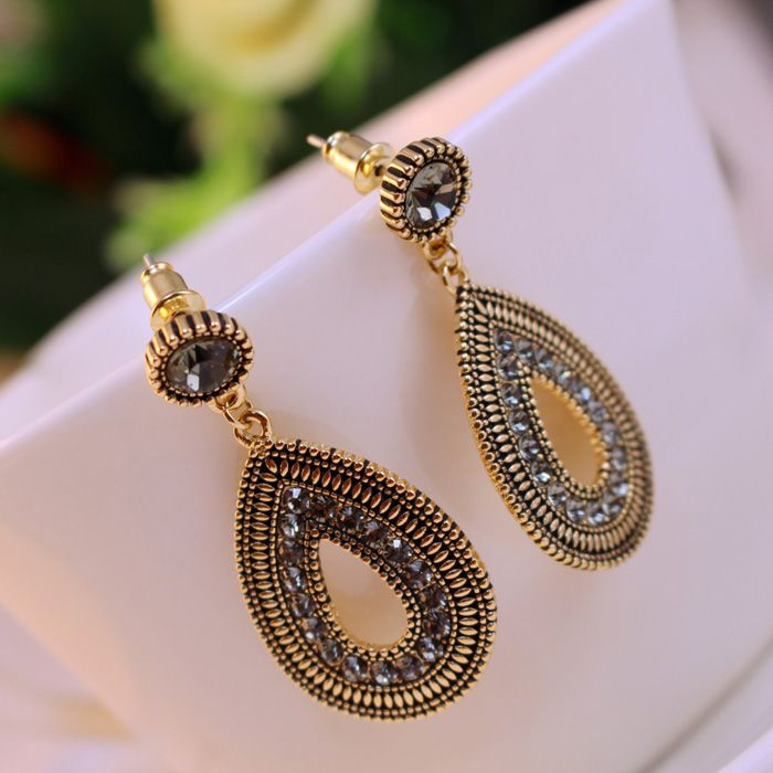 Pair of Ethnic Diamante Waterdrop Shape Drop Earrings