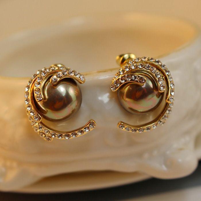 Pair of Alloy Diamante Faux Pearl Stud Earrings