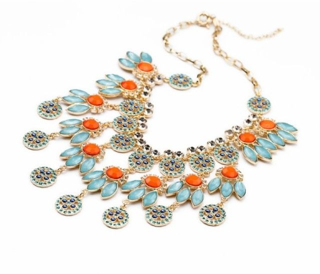 Exaggerated Bohemian Multicolor Flower Shape Pendant Necklace For Women