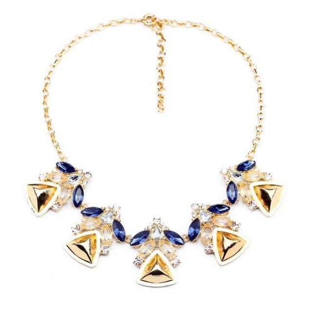 Bohemian Rhinestoned Triangle Pendant Necklace