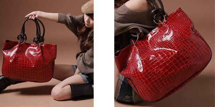 Faux Leather Embossed Shoulder Bag
