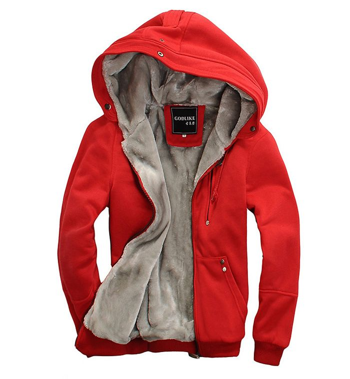 Sports Hooded Zipper Solid Color Long Sleeve Fleece Men's Hoodie
