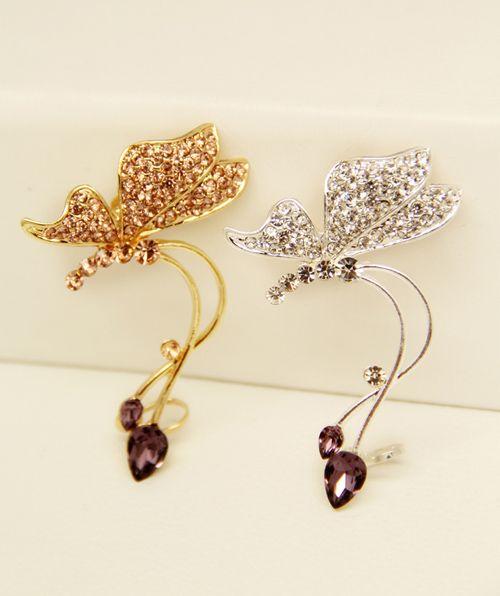 One Piece of Rhinestone Butterfly Shape Clip Earring