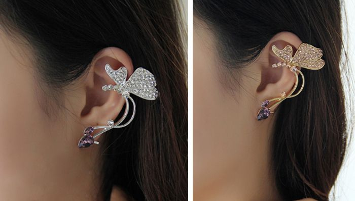 One Piece of Rhinestone Butterfly Shape Clip Earring