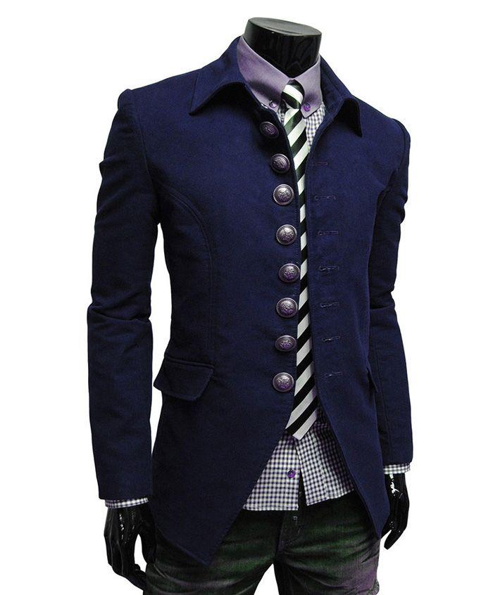 Trendy Slimming Single Breasted Turndown Collar Long Sleeve Woolen Coat For Men