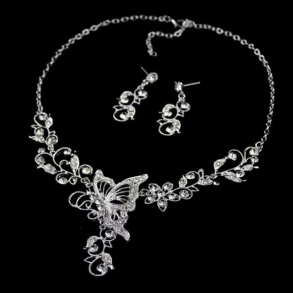 Butterfly Pendant Flower Embellished Diamante Necklace and Earrings