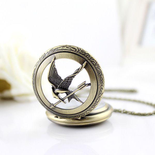 Bird and Pocket Watch Shape Pendant Sweater Chain