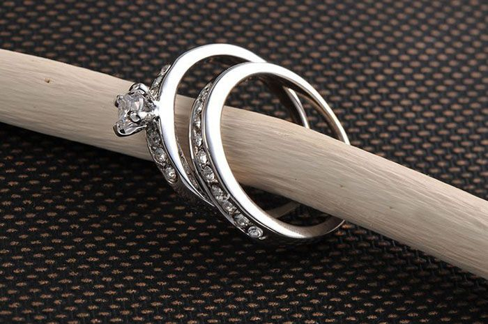 2 PCS Rhinestone Rings