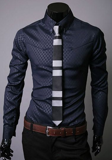 Lapel Hidden Plaid Long Sleeve Dress Shirt