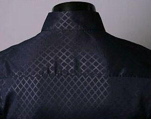 Lapel Hidden Plaid Long Sleeve Dress Shirt