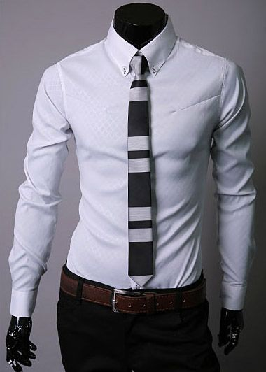 Fashion Lapel Hidden Plaid Solid Color Long Sleeve Cotton Men's Dress Shirt