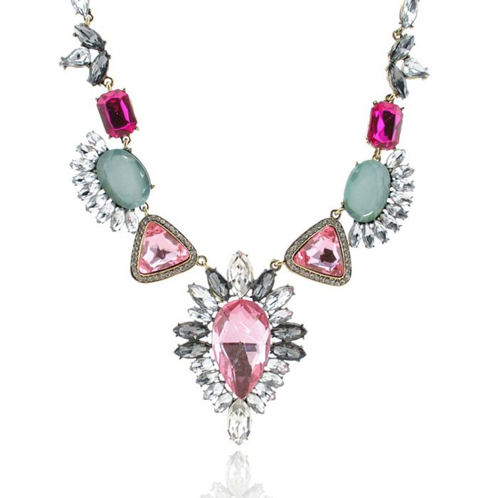 Sweet Faux Crystal Embellished Pendant Alloy Necklace For Women