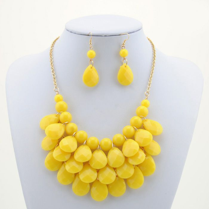 Candy Color Multilayered Beaded Necklace and Earrings For Women