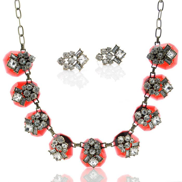 Gorgeous Faux Crystal Embellished Necklace and Earrings For Women