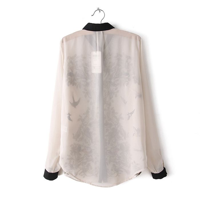 Trendy Turn-Down Collar Ink Magpie Print Color Splicing Long Sleeves Shirt For Women