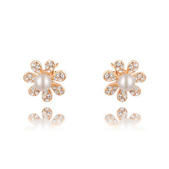 Pair of Diamante Flower Faux Pearl Embellished Earrings
