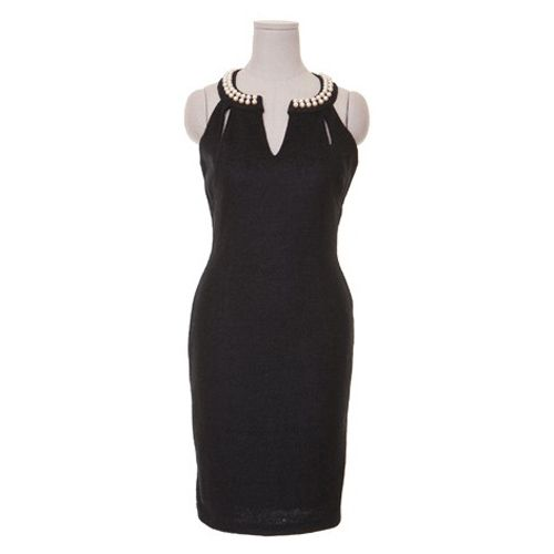 Solid Color Faux Pearl Packet Buttock Sexy Style Sleeveless Women's Dress