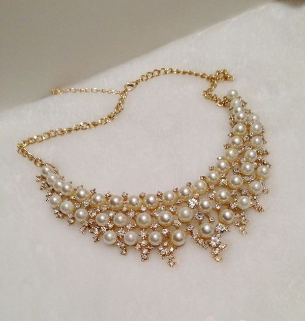 Retro Style Diamante Multilayered Faux Pearl Necklace For Women
