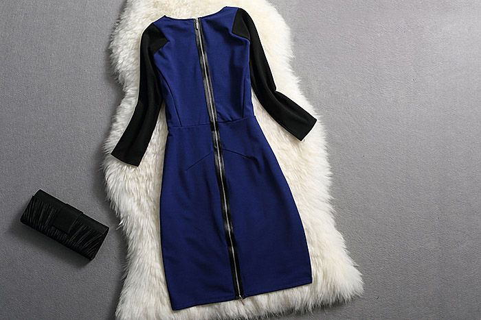 Simple V-Neck Back Zipper Color Splicing 3/4 Sleeve Bodycon Dress For Women