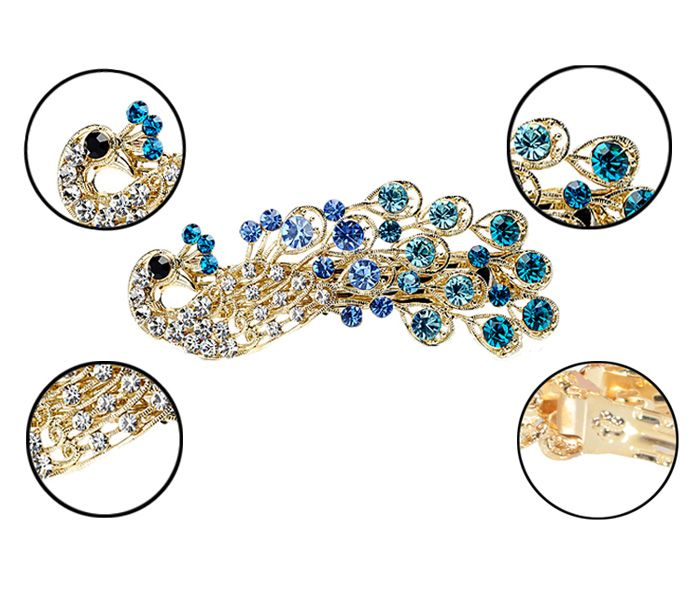 Exquisite and Attractive Rhinestone Embellished Peacock Shape Hairpin