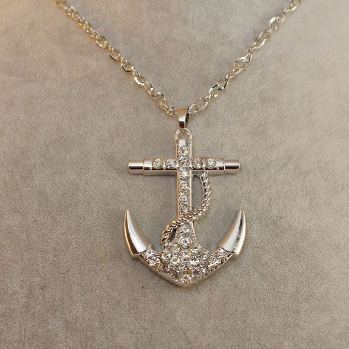 brilliant fully jewelled anchor pendant sweater chain
