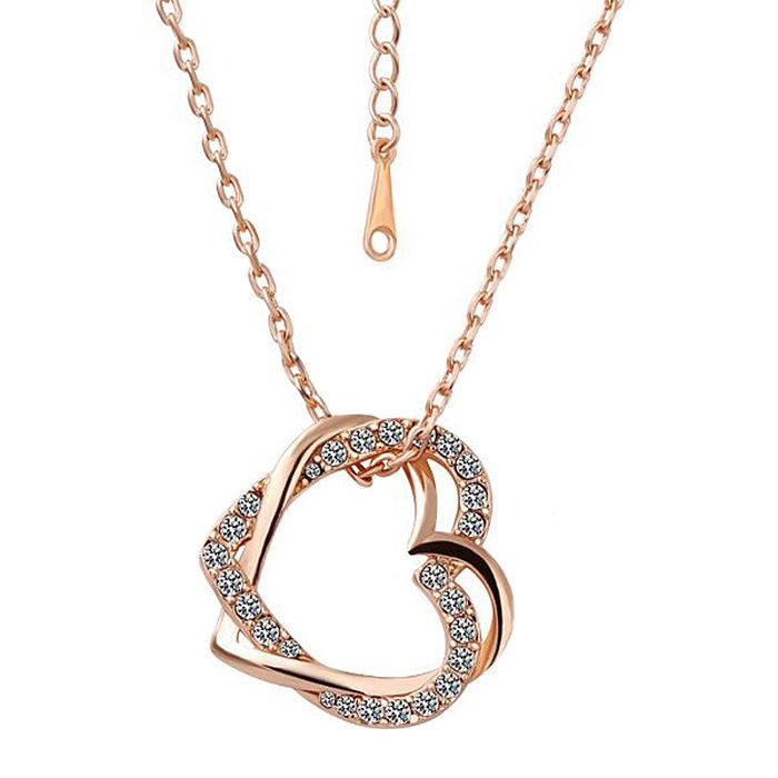 Alloy Rhinestoned Double Hearts Pendant Necklace