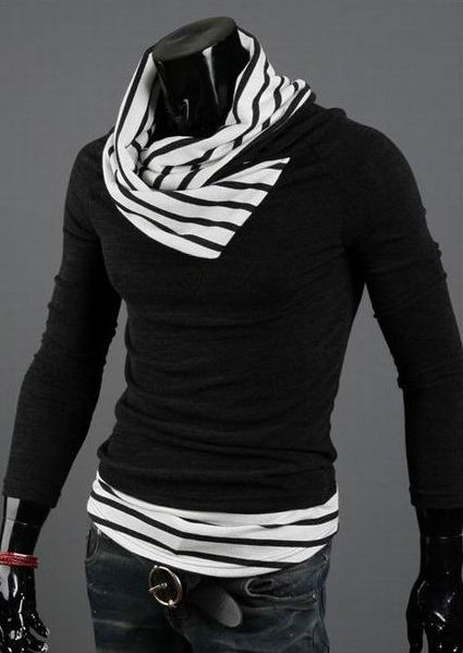 Casual Special High Collar Pullover Stripe Long Sleeve Cotton Blend Men's Sweater