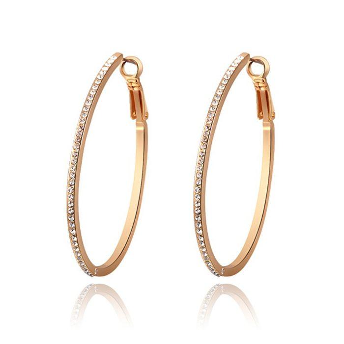 Pair of Characteristic Rhinestoned Alloy Hoop Earrings For Women