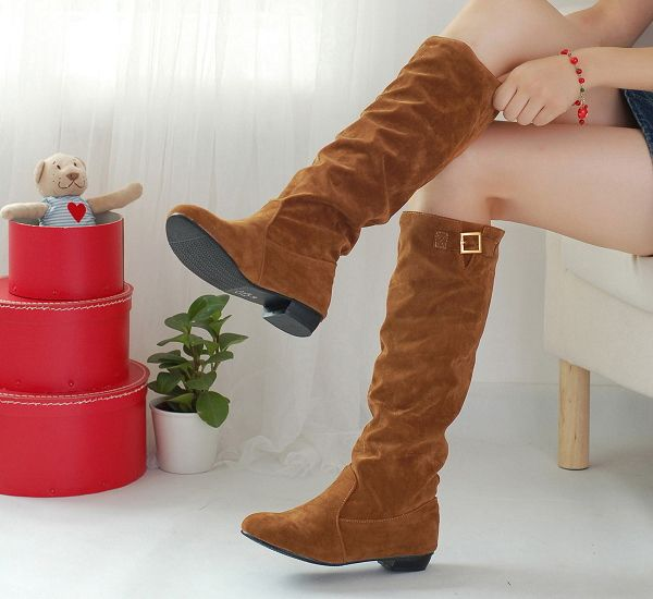 Simple Buckle and Solid Color Design Women's Boots
