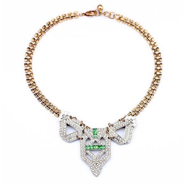 Vintage Diamante Pendant Alloy Necklace