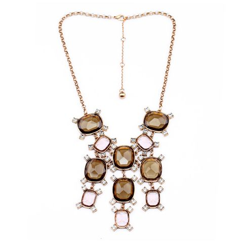 Vintage Diamante Faux Crystal Pendant Alloy Necklace