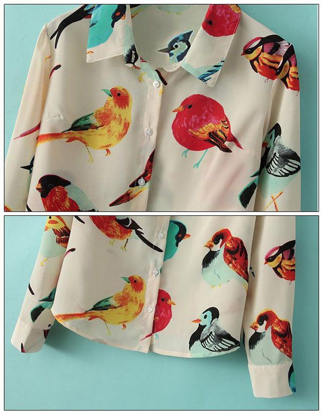 Stylish Turn-Down Collar Colored Bird Long Sleeves Single-Breasted Women's Chiffon Blouse