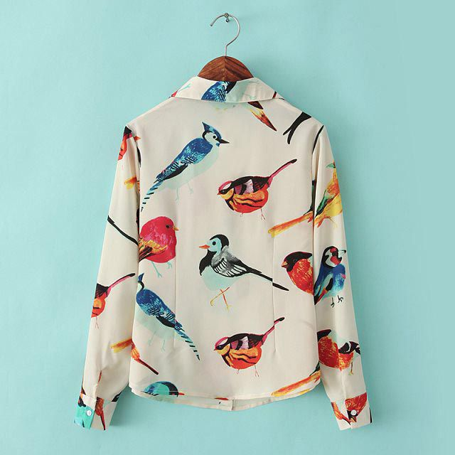 Stylish Turn-Down Collar Colored Bird Long Sleeves Single-Breasted Women's Chiffon Blouse