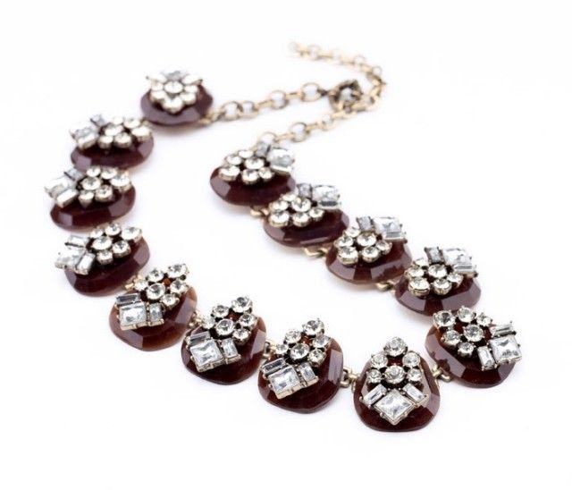 Faux Gemstone Embellished Alloy Chain Necklace