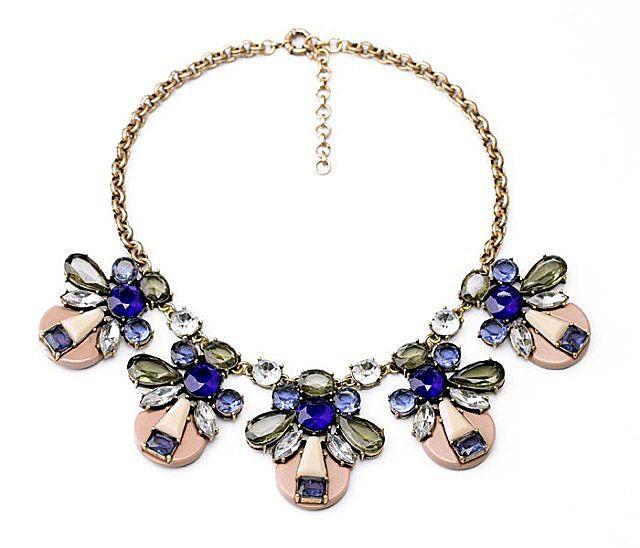 Vintage Transparent Colored Faux Crystal Pendant Alloy Necklace For Women