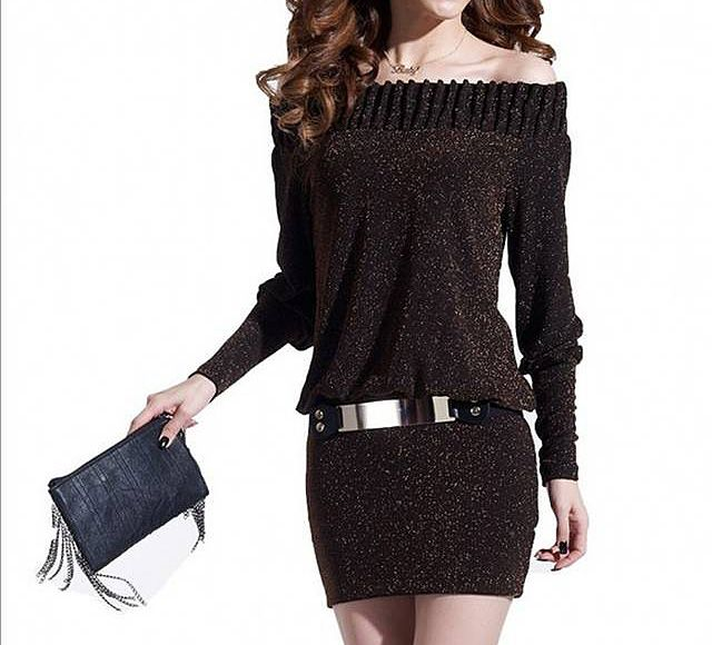 Sexy Off-The-Shoulder Spun Gold Solid Color Long Sleeve Women's Dress