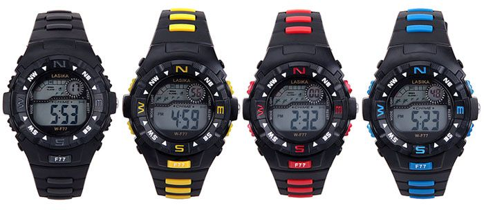 Water Resistant Men's Watch with Blue LED Number Hour Marks and Rubber Watchband