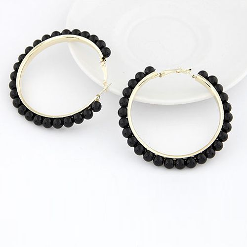 Pair of Statement Beads Decorated Round Shape Earrings