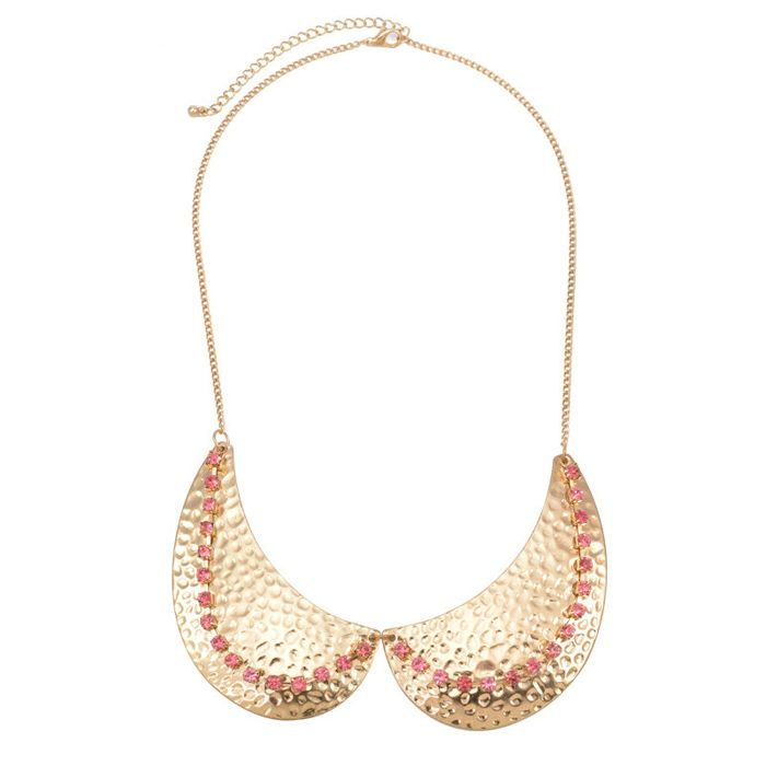 Vintage Pink Rhinestone Embellished Golden Fake Collar Necklace For Women