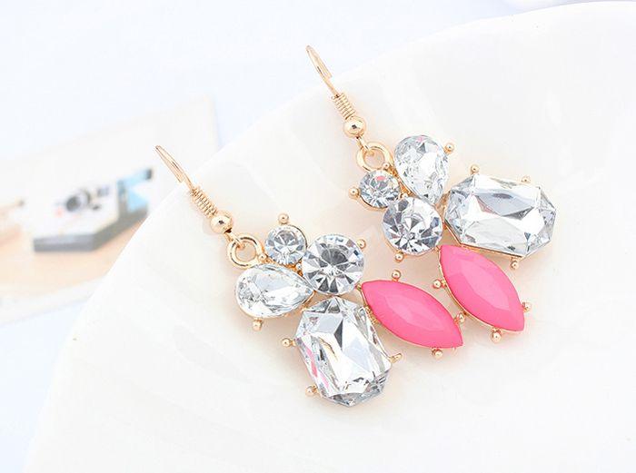 Pair of Geometric Faux Gem Drop Earrings