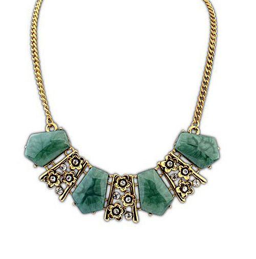 Vintage Tiny Flower Design Faux Gem Pendant Necklace For Women