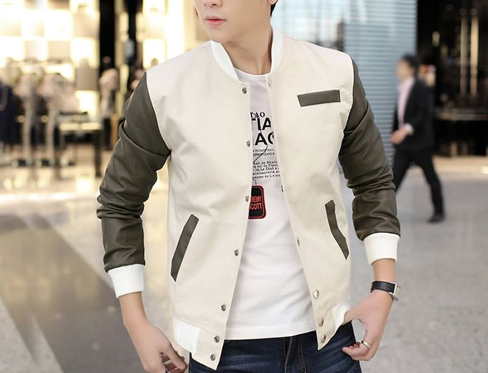 Collar Color Block PU Leather Long Sleeves Men s Polyester Jacket