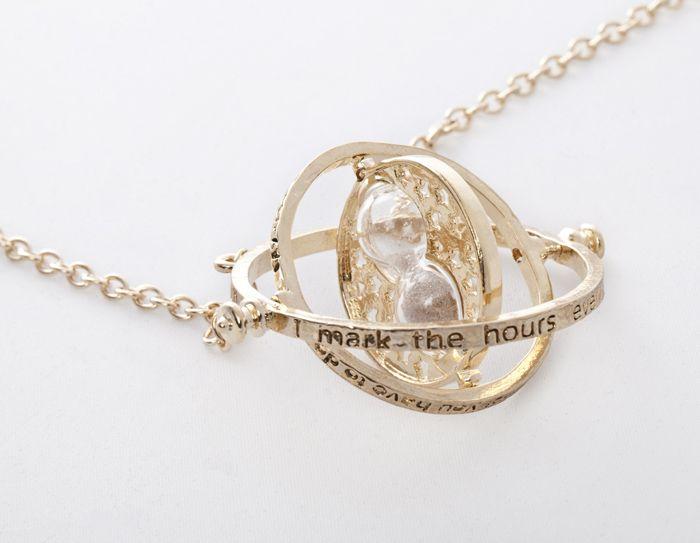 Retro Alloy Sand Clock Pendant Necklace