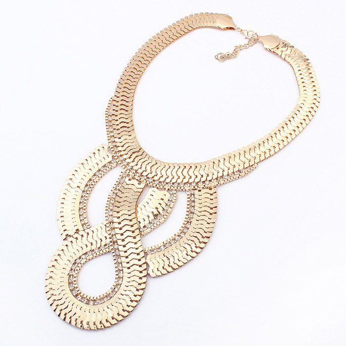 Simple Geometric Pendant Golden Alloy Necklace For Women